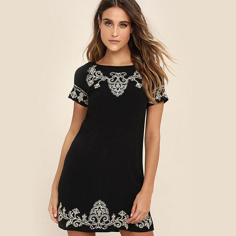 Summer Women Printing Dress Zipper Short Sleeve Mini Beach Dress Sundress Casual Striaght Dresses Vestidos