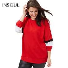 INSOUL 2017 Plus Size Hit Color Women Sweatshirts Drop-shoulder O-Neck Long Sleeve Female Pullovers Big Size Casual Lady Tops