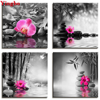 4 pcs Diamond Painting Black Stone orchid flower Painting 5D DIY Mosaic Diamond Embroidery sale Full Square Round drill diamond