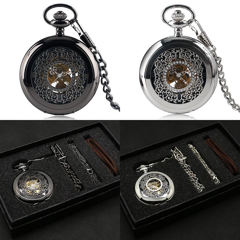 Silver/Black Hand Winding Mechanical Pocket Watch Set Flower Half Hunter Vintage Skeleton Pendant Necklace Chain+ Box Luxury Set