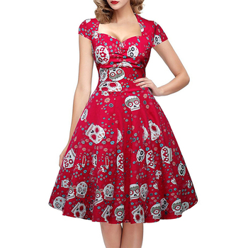Elegant Women Vintage 50s 60s Square Collar Skull Print Dress Wrapped Chest Swing Rockabilly Pin Up Midi Dress Plus Size 4XL 1