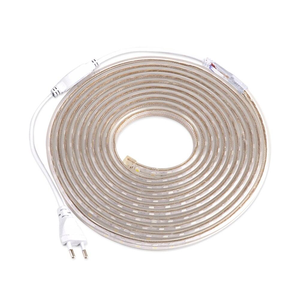 LED Strip 220V Waterproof LED Strip Light 5050 60LEDs/m Flexible Diode Tape Neon Ribbon For Living Room Lighting With EU Plug