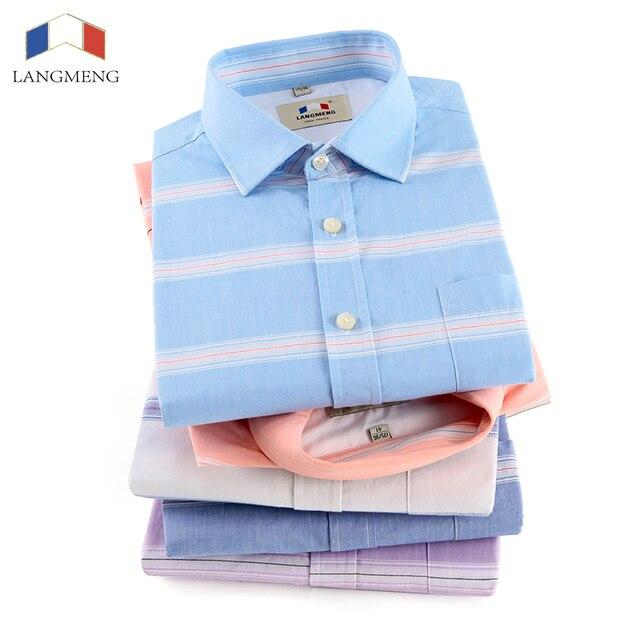 Langmeng Brand Men 100% Cotton Casual Shirts Long Sleeve Shirt Striped Male High Quality Tops Shirt Fashion Mens Dress Shirts
