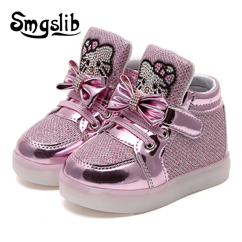 Kids Shoes With Light Up Popular Girl Shoes Enfant Hello Kitty Girls Flat  Shoe With Led Light Kids Trainers Luminous Sneakers 0783bb9d0e6f