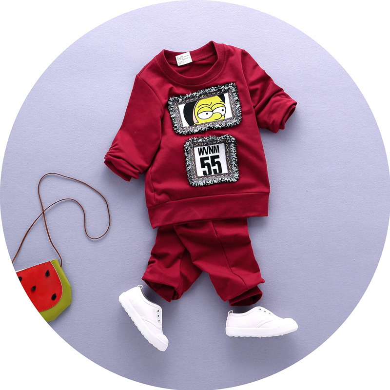 2017 Autumn Baby Clothing Sets Kids Clothes Baby Sets Kids Long Sleeve Sports Suits T-shirts + Pants Boys Clothes 1-5 Years