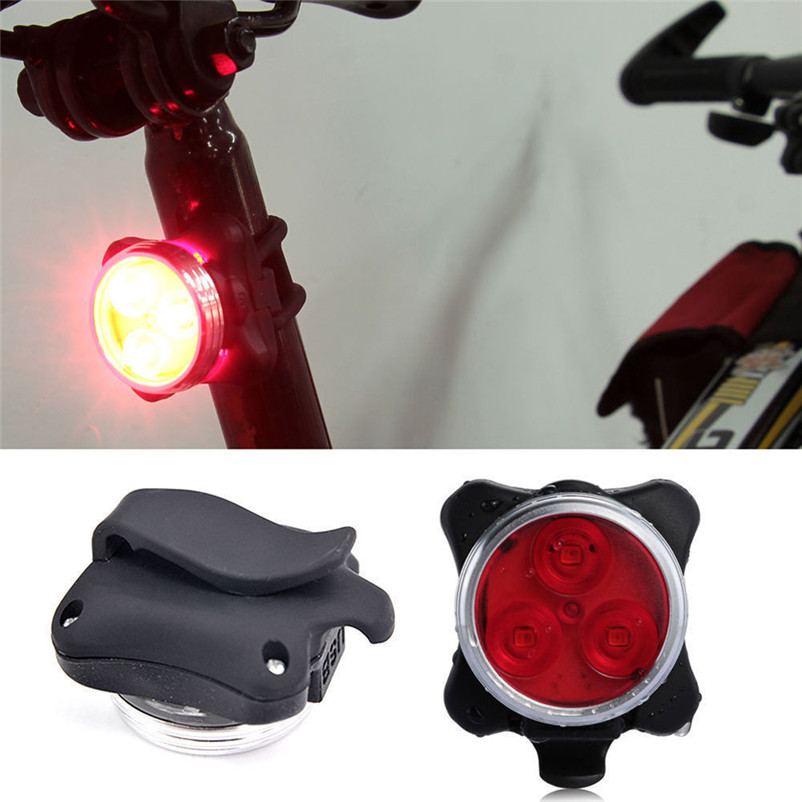 USB Rechargeable Cycling Bicycle Bike 3 LED Head Front Rear Tail Clip Light Lamp #2AP03 ...