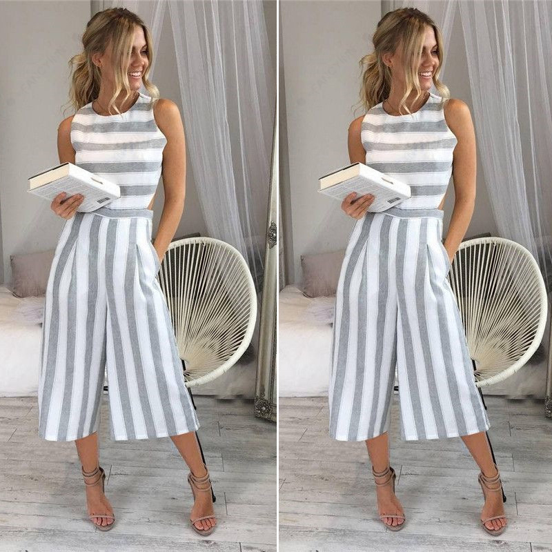 Striped Jumpsuit Rompers For Women Overalls Ladies Loose Calf Length Wide Pants For Woman Jumpsuits For Girls Cut-out Waist