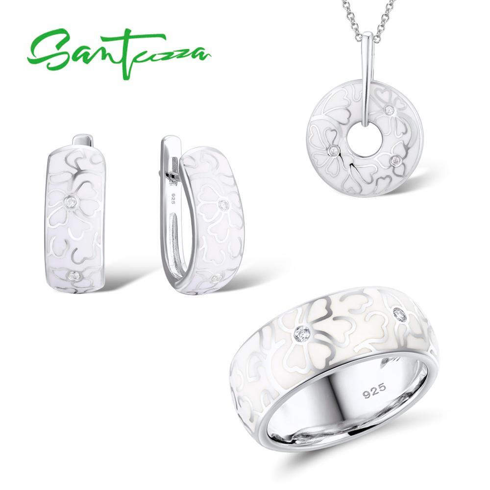 SANTUZZA Jewelry Set HANDMADE Enamel White Flower CZ Stones Ring Earrings Pendent Genuine 925 Sterling Silver Women Jewelry Set