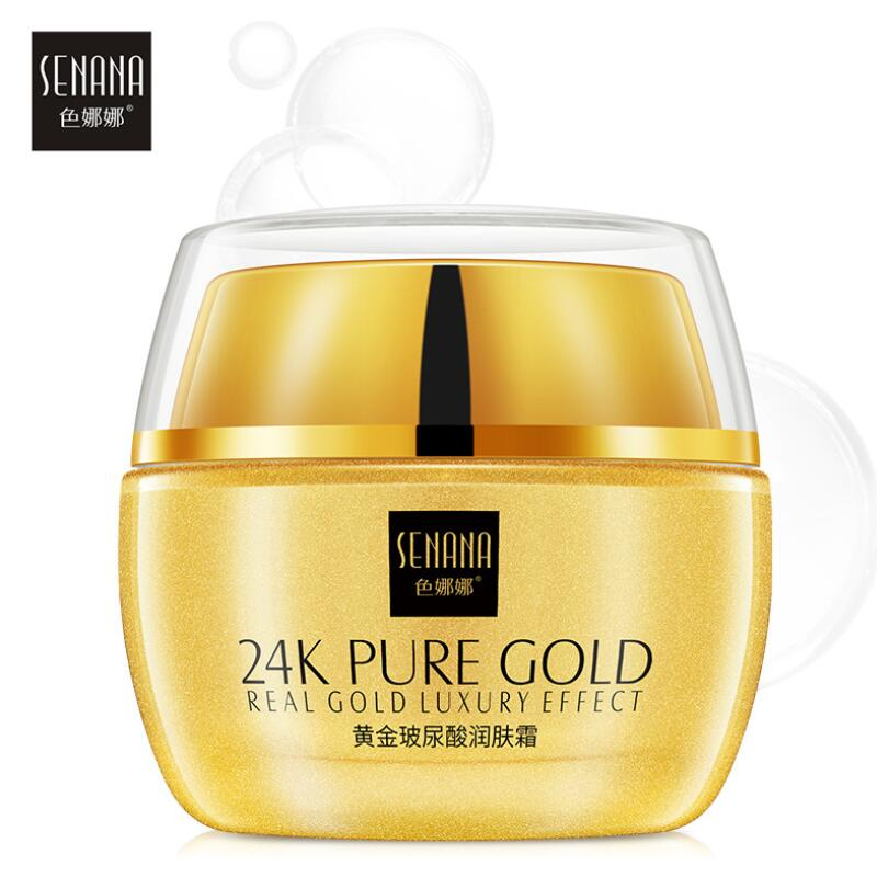 24K Gold Face Cream Hyaluronic Acid Moisturizing Whitening Day Cream Anti Wrinkle Anti Aging Face Skin Care
