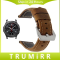 22mm Genuine Leather Strap for Samsung Gear S3 Classic Frontier Smart Watch Band Stainless Steel Clasp Belt Bracelet Brown Black