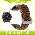 22mm correa de piel genuina para samsung gear s3 classic frontera smart watch banda de cierre de acero inoxidable pulsera de la correa marrón negro