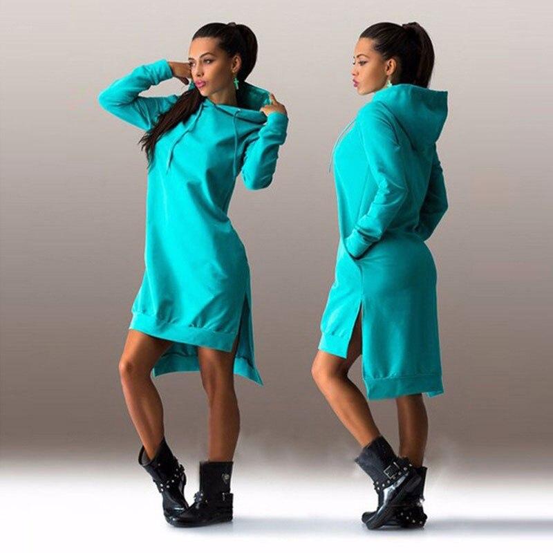 HTB1pKE9EeuSBuNjSsziq6zq8pXai Women Slim Hoodie Dress 2019 Autumn Winter Long Sleeve Casual Dress Hooded Pockets Sportwear Female Fashion Women Clothing
