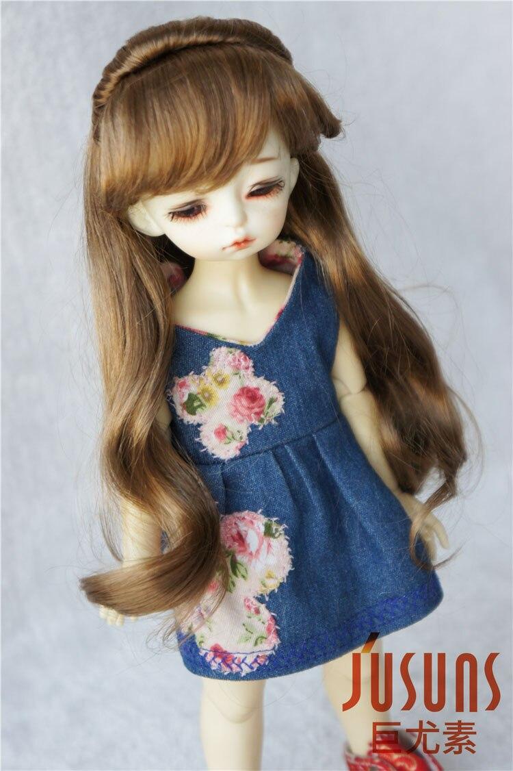 JD096 1/6 Doll wigs  6-7inch Lati Green  BJD wig  YOSD Long wavy pony hair