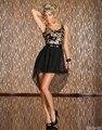 Delgado de la manera de lentejuelas de gasa dobladillo asimétrico dress con cinturón sexy club wear negro dress for women