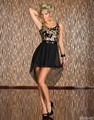 Fashion Slim Sequin Chiffon Asymmetric Hem Dress With Belt Sexy Club Wear Black Dress For Women