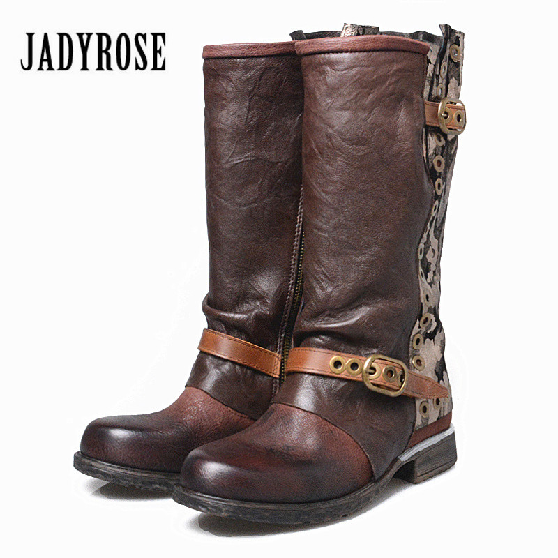 Jady Rose Genuine Leather Women Winter Boots Vinatge Riding Boot Flat Shoes Rivets Mid-Calf Platform Rubber Botas Militares jady rose vintage brown women genuine leather mid calf boot chunky high heel platform boots straps buckle decor martin botas