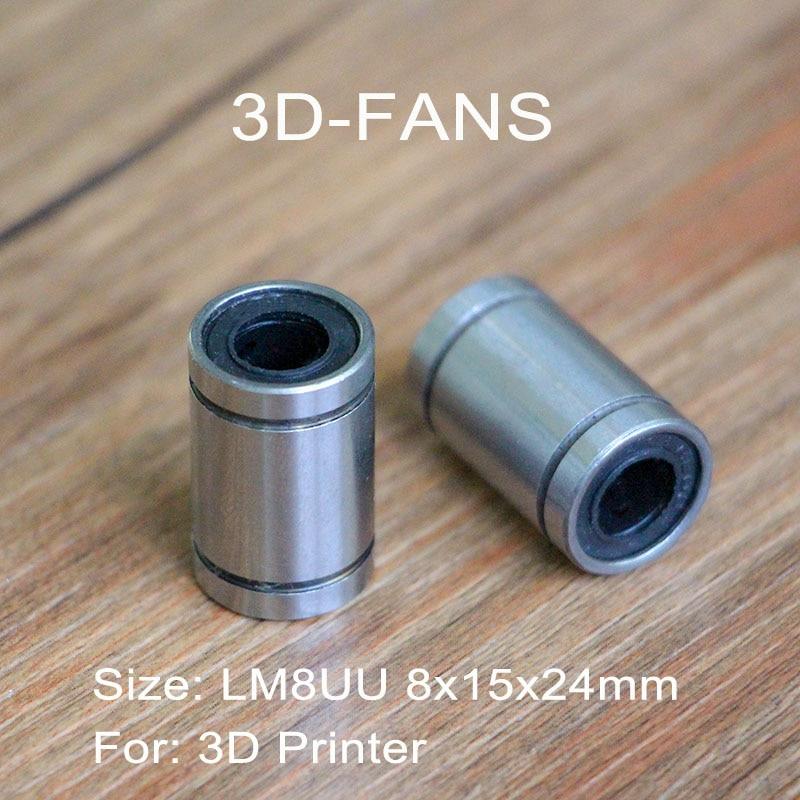 2 unids/lote LM8UU cojinete de rodamiento lineal de 8mm x 15mm x 24mm para impresora 3D|Accesorios y partes de impresoras 3D|   - AliExpress