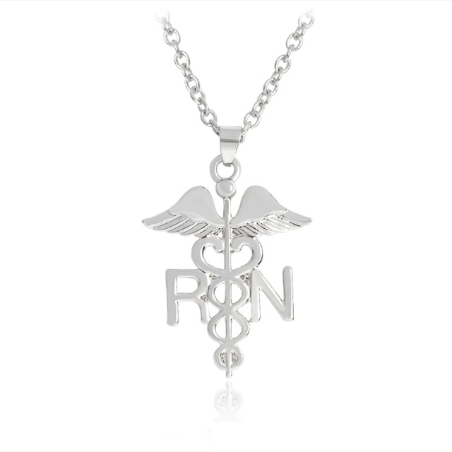Bsn Caduceus Medical Symbol Rn Necklace Angel Wings Registered Nurse
