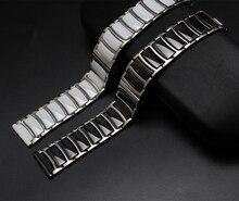 20 мм 22 мм Черный Белый Керамический с нержавеющая сталь Ремешки прямой Конец Прочные Связи Алмазов Часы Аксессуары Общие Полосы
