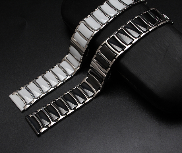 20mm 22mm Black White Ceramic with stainless steel Watchbands straight End Solid Links Diamond Watch Accessories General Bands