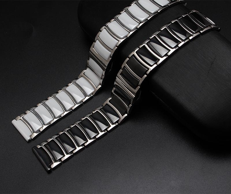 Prix pour 20mm 22mm Noir Blanc En Céramique avec en acier inoxydable Bracelets Extrémité droite Des Liens Solides Diamant Montre Accessoires Général Bandes