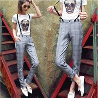 2013 Fashion New Women Overalls Pants Grid Plaid Casual Harem Pants For Woman Suspender Trousers Vintage