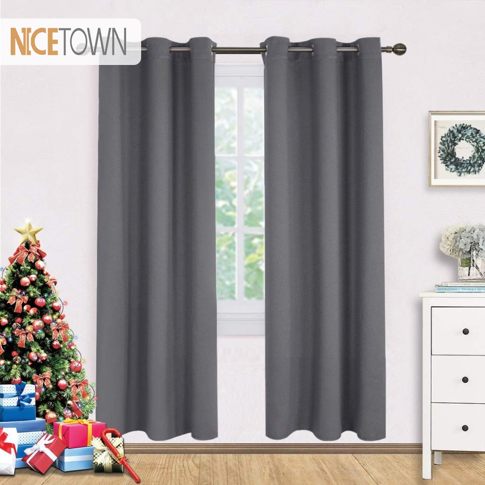 Heavy Thermal Curtains Us 14 22 Nicetown Blackout Curtains Panels For Bedroom Window Treatment Thermal Insulated Solid Grommet Blackout Drapes For Living Room In Curtains
