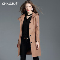 CHAOJUE Brand Woman Brown Hooded Woolen Coat Autumn/Winter Lady Warm Zipper Overcoat High Quality Trench Coat Free Shipping
