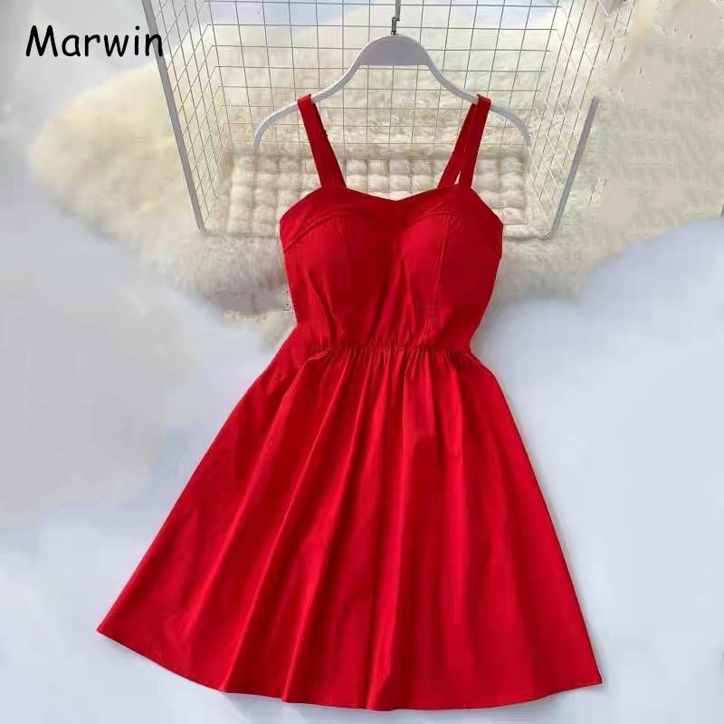 Marwin 2019 nouveauté été solide genou-longueur Spaghetti sangle bretelles robes haute rue Empire Style fête vacances robes