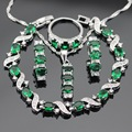 Silver Color Jewelry Sets For Women Green Created Emerald White CZ Necklace Pendant Bracelets Hoop Earrings Rings Free Gift Box