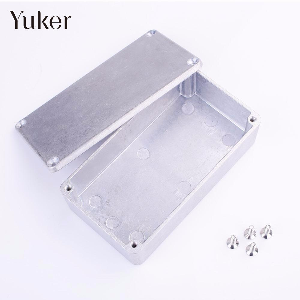 Yuker Silver Effect Foot Pedal Aluminum Metal Stomp Box Case With 4 x Screw Guitar Accessories 11*6*3cm 1590 series aluminium stomp case enclosure guitar effect pedal