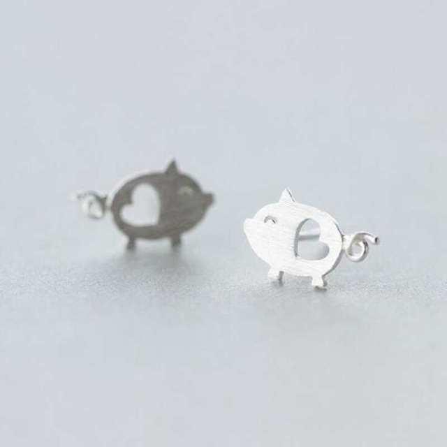 Pepa Heart Pig Stud Earrings4