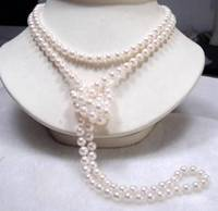 FREE SHIPPING HOT sell new Style >>>>Fashion jewelry 7 8mm White Freshwater Cultured Pearl Necklace 46 inch UHE08