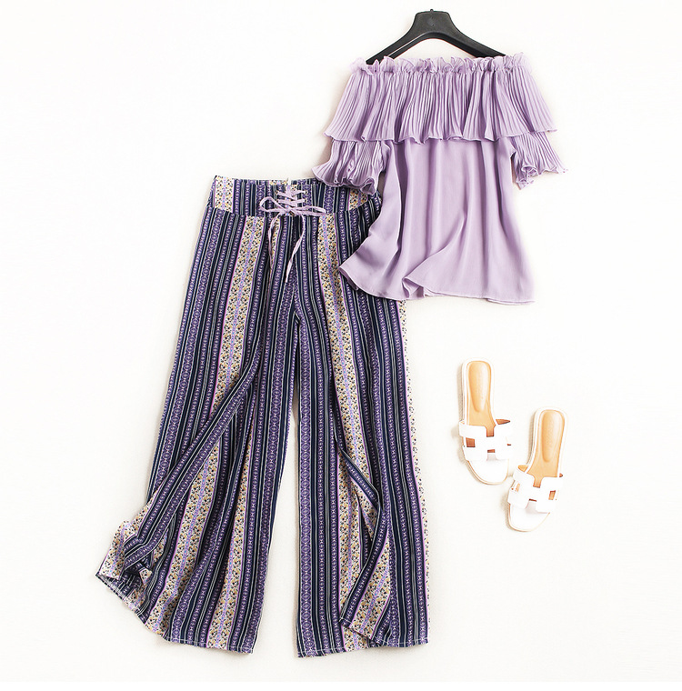 European womens wear 2018 The new summer With short sleeves One word led falbala T-shirt + printing Wide-leg trouser suit