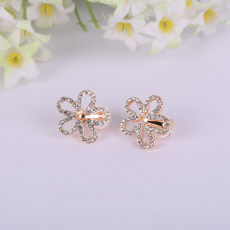 JIOFREE Korea Style Five Petals Shape Rhinestone Clip On Earrings Without Piercing For Girls Party Cute Lovely No Hole Ear Clip