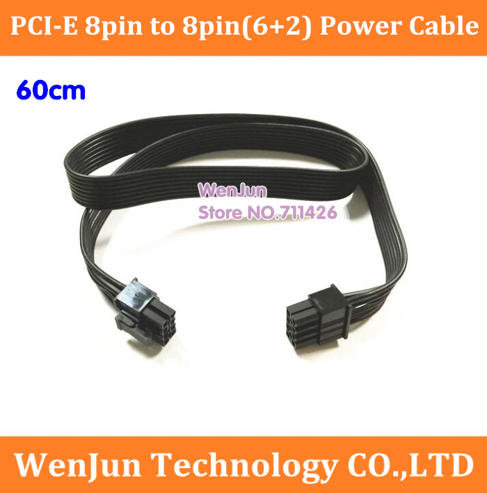 High Quality 60CM PCI-E 8 <font><b>Pin</b></font> Male to Magic Port 8Pin(<font><b>2</b></font>+<font><b>6</b></font>) Male Power <font><b>Extension</b></font> <font><b>Cable</b></font> video card 8P Male to Male Ribbon <font><b>Cable</b></font> image