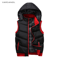 Varsanol Mens Vest Jacket Winter Clothes Vests For Men Cotton Outwear Hooded Sleeveless Turn down Collar Casual Army Green Tops