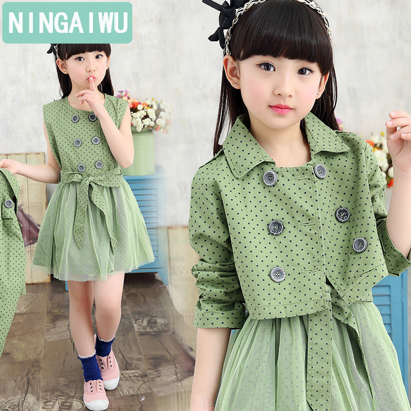 New arrive autumn girls dresses of Children's short coat + dress two-piece girl princess leisure clothes boutique 6 - 14 years 2017 autumn girl doll shirt the fashionable two piece set of pure color lotus leaf coat with harness sets tide