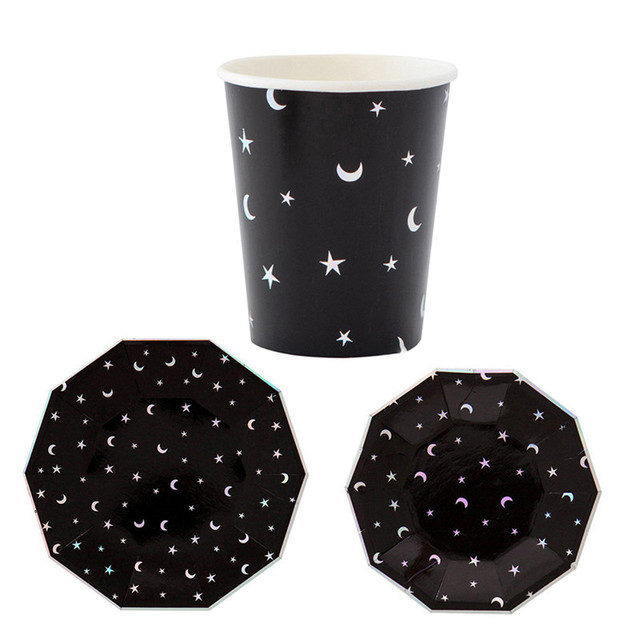 NEW Black Star and Moon Marble Creative Disposable Tableware Set Paper Plates Cups Party Wedding Carnival  sc 1 st  AliExpress.com & NEW Black Star and Moon Marble Creative Disposable Tableware Set ...