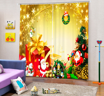 Christmas gift Curtains 3D Photo Printing Blackout For Window Living Room Bedding Room Hote Office Sofa Decoration