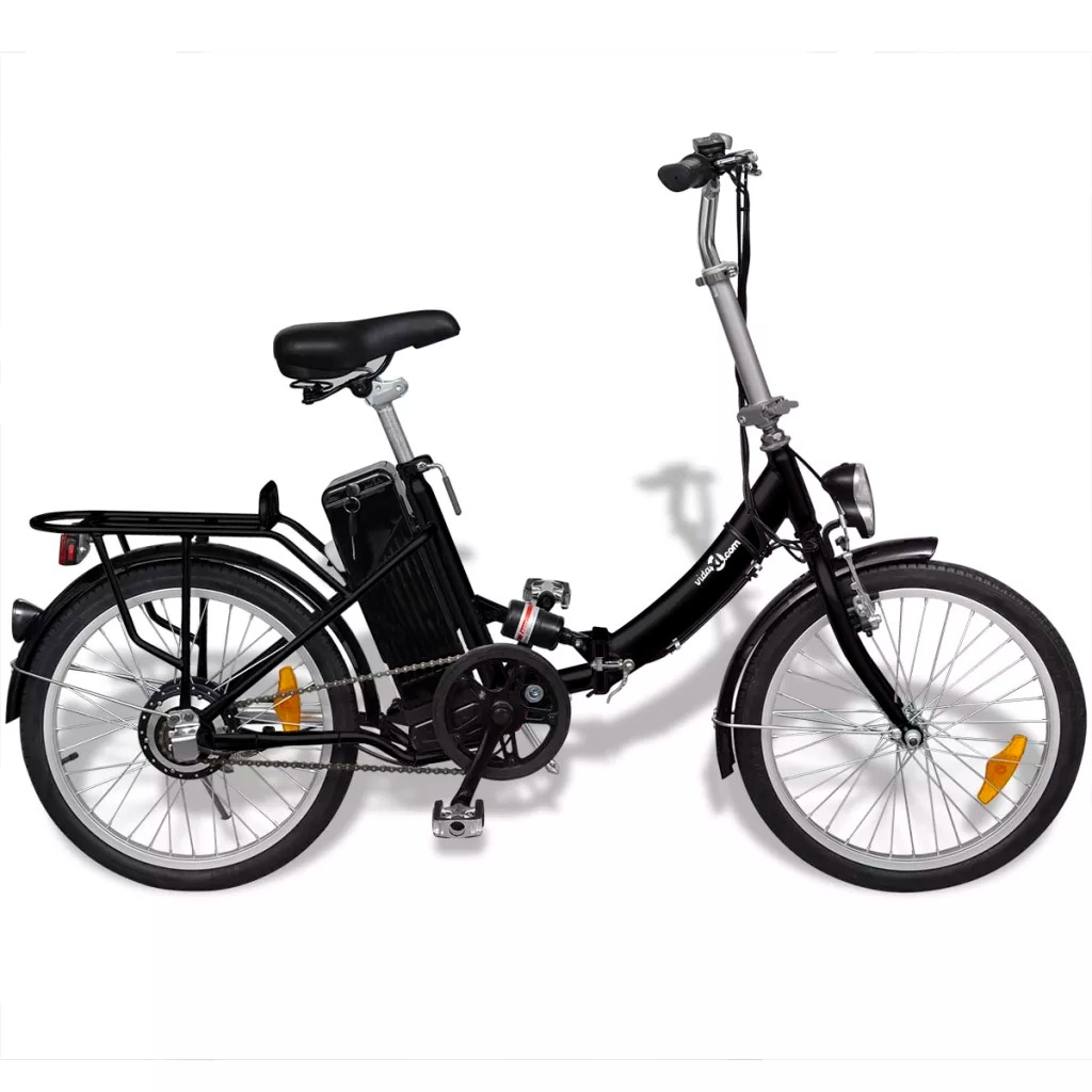 Vidaxl 250 W Motor Folding <font><b>Electric</b></font> Bicycle <font><b>8AH</b></font> <font><b>Battery</b></font> <font><b>Electric</b></font> <font><b>Bike</b></font> With LED Display 74-87 Cm Height Adjustable Seat image