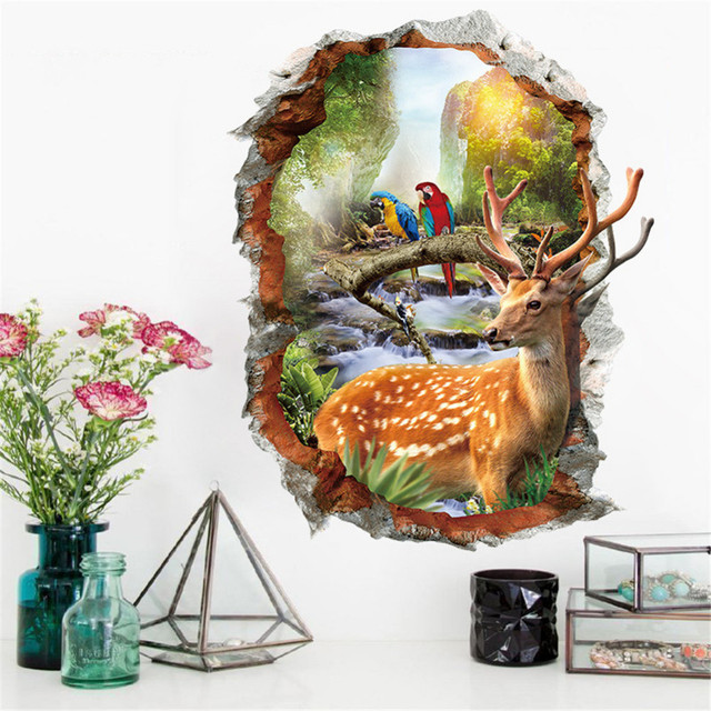 3D Deer Parrot Broken Window Wall Stickers Home Decor Animals Wall Decals Mural Kid's Living Room Bedroom Decorative Sticker