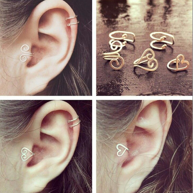 Single Earring Unique New Silver Filled Alloy Branch Tragus Piercing Earring For Women Non Piercing Clip Earring 2019 2