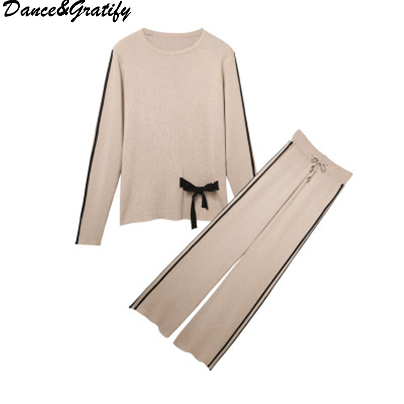 Casual Sweater Sets Womens Knitted Plus Size Two Piece Suits Wide Leg Pants  Set Knitted Pullovers db7c2da1d7ff