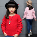 Toddler Girls Spring Autumn 2016 New Arrival O-neck Knitted Solid Pink/Red/Blue Color Pullover Long Sleeve Lovely Sweaters