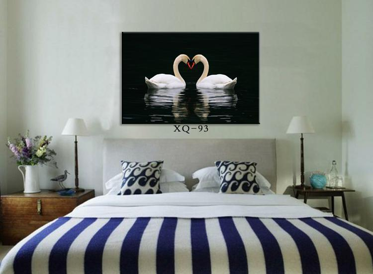 Paintings Pair Of Swans Art Canvas Print Modern Bedroom Bedside Black Animal Wall Painting Home Decor No Framed In Calligraphy