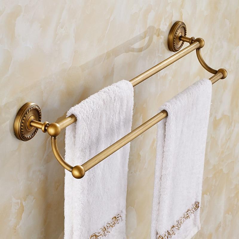 Bathroom Towel Bar Antique Copper Towel Rack Brass Carved Double Bar Bathroom Hardware