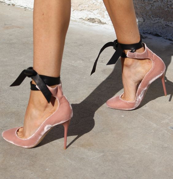 ФОТО 2017 New Fashion Women Wedding Party Shoes Lace Up Ballerina Heels Ballet Pink Leather Velvet Black Nappa Round-toe Pumps