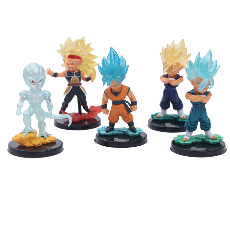 Toys & Hobbies 5 Pcs/set Anime Dragon Ball Z Cute Big Head Son Goku Blue Gold Super Saiya 4 Frieza Gogeta Action Figure Dbz Pvc Model Toy 10cm