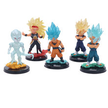 5 pçs/set Anime Dragon Ball Z Bonito Cabeça Grande 4 Ouro Azul Super Saiya Son Goku Frieza Gogeta Action Figure DBZ PVC Modelo Toy 10 cm(China)